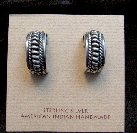 Image 0 of Native American Navajo Sterling Silver Half Hoop Earrings Priscilla Apache