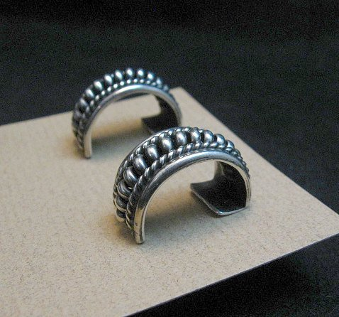 Image 1 of Native American Navajo Sterling Silver Half Hoop Earrings Priscilla Apache