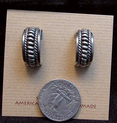 Image 2 of Native American Navajo Sterling Silver Half Hoop Earrings Priscilla Apache