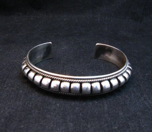 Image 0 of American Indian Navajo Priscilla Apache Sterling Silver Ribbed Bracelet