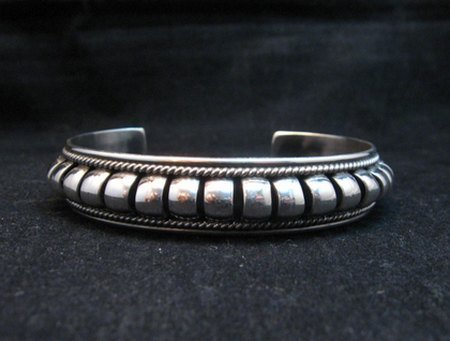 Image 2 of American Indian Navajo Priscilla Apache Sterling Silver Ribbed Bracelet