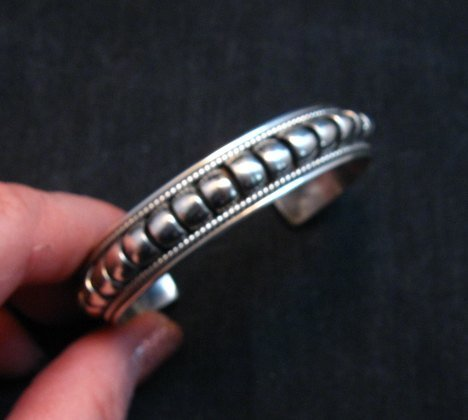 Image 1 of American Indian Navajo Priscilla Apache Sterling Silver Ribbed Bracelet