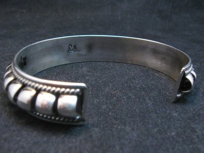 Image 3 of American Indian Navajo Priscilla Apache Sterling Silver Ribbed Bracelet