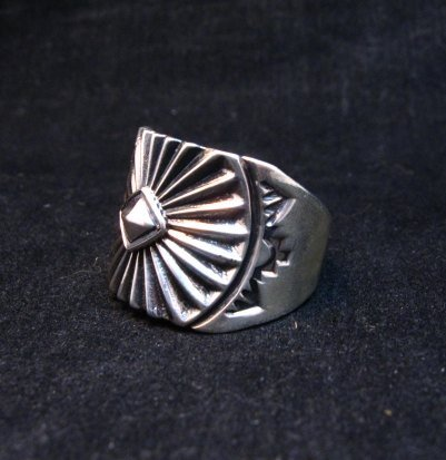 Image 1 of Old Pawn Style Navajo Sterling Silver Ring Sz13, Derrick Gordon