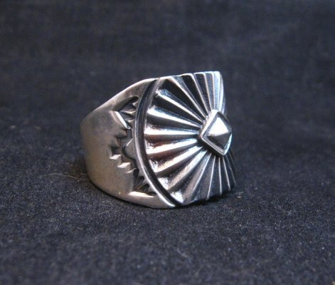 Image 2 of Old Pawn Style Navajo Sterling Silver Ring Sz13, Derrick Gordon