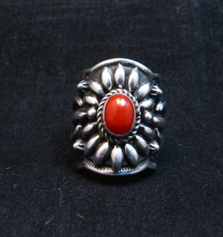 Image 0 of Wide Darryl Becenti Navajo Coral Sterling Silver Ring sz7