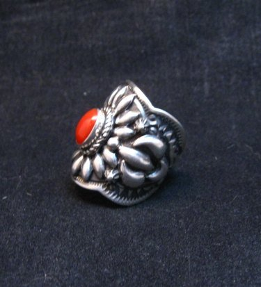 Image 1 of Wide Darryl Becenti Navajo Coral Sterling Silver Ring sz7
