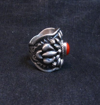 Image 2 of Wide Darryl Becenti Navajo Coral Sterling Silver Ring sz7
