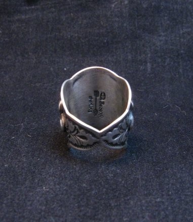 Image 4 of Wide Darryl Becenti Navajo Coral Sterling Silver Ring sz7