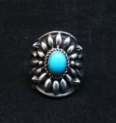 Darryl Becenti Navajo Sleeping Beauty Turquoise Ring sz8