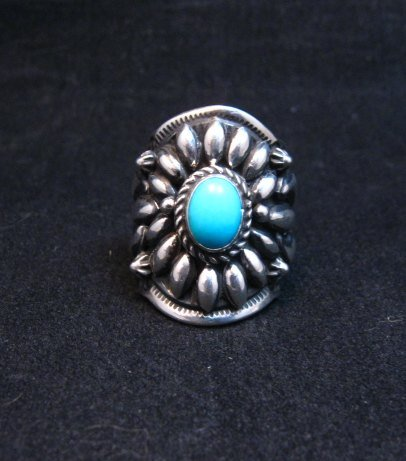 Image 0 of Fancy Darryl Becenti Navajo Sleeping Beauty Turquoise Ring sz6