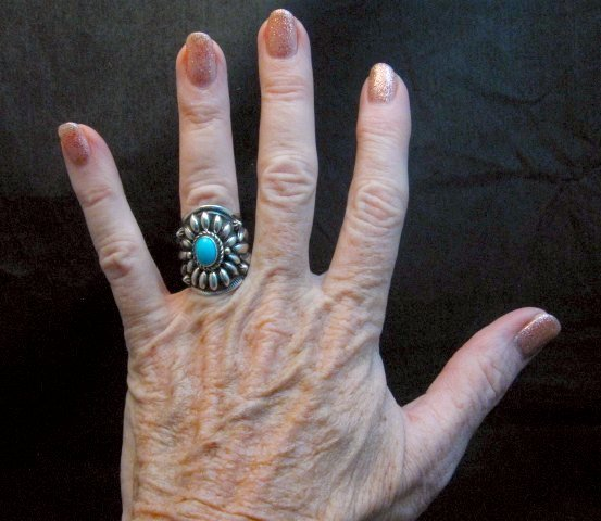 Image 3 of Fancy Darryl Becenti Navajo Sleeping Beauty Turquoise Ring sz6
