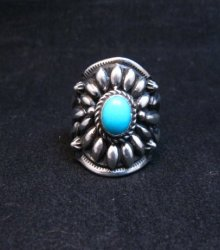 Fancy Darryl Becenti Navajo Sleeping Beauty Turquoise Ring sz6