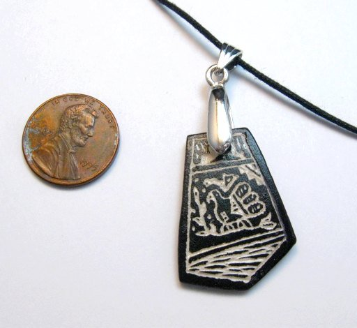 Image 3 of Sharon Miller Acoma Handmade Indian Pottery Pendant - Parrot