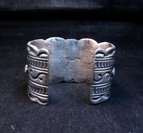 Image 8 of Navajo Old Pawn Style White Buffalo & Royston Turquoise Bracelet by Gilbert Tom