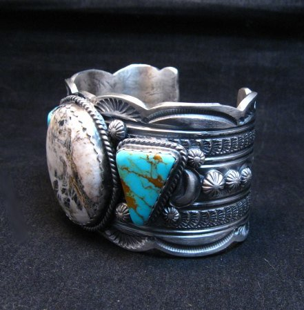 Image 1 of Navajo Old Pawn Style White Buffalo & Royston Turquoise Bracelet by Gilbert Tom