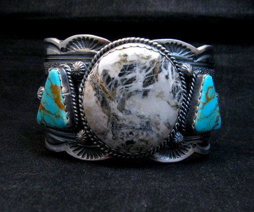 Image 9 of Navajo Old Pawn Style White Buffalo & Royston Turquoise Bracelet by Gilbert Tom