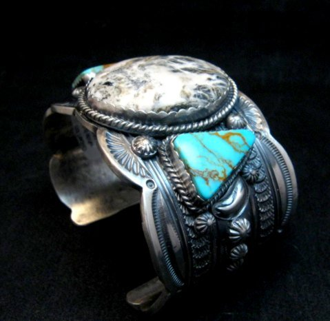 Image 6 of Navajo Old Pawn Style White Buffalo & Royston Turquoise Bracelet by Gilbert Tom
