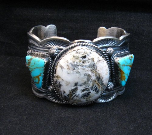 Image 3 of Navajo Old Pawn Style White Buffalo & Royston Turquoise Bracelet by Gilbert Tom