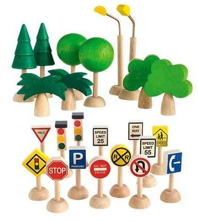 Plan City Wooden Traffic Signs Trees and Lights Set 2 by PlanToys