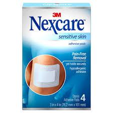 Nexcare Adhsiv Pad Sensi Skin 3X4 4Ct