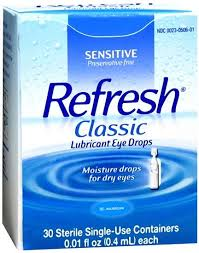 Refresh Classic Lubricant Eye Drops 30-0.01 Fl. oz . Tubes By Allergan USA Item No.: 4560011 NDC No.: 00023050601 UPC No.: 300230506014 Item Description: Dry Eye Relief Other Name: :Refresh P/F Therap