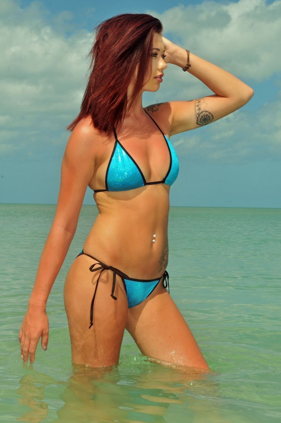 turquoise Holographic scrunch butt bikini puckered cheeky sexy hot sparkly