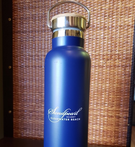 Stainless Steel Bottle with Wood Lid Navy 21 oz
