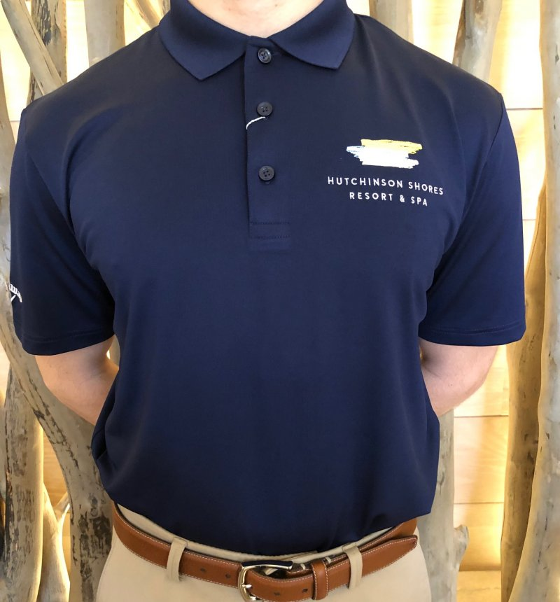 Shirt men's navy blue with embroidered logo and collar