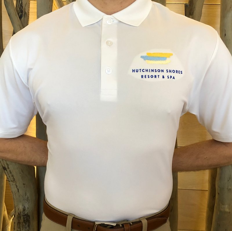 Image 0 of Shirt men's white with embroidered logo and collar