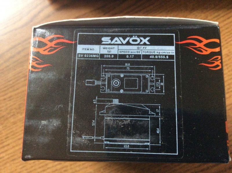 Image 2 of Savox 0236MG HIGH VOLTAGE 5TH SCALE SERVO 0.17/555.5 @7.4V