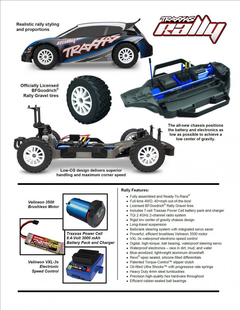 Image 3 of Traxxas 1/10 Rally 4WD Brushless RTR Rally Racer w/TQi 2.4GHz 2-Channel Radio
