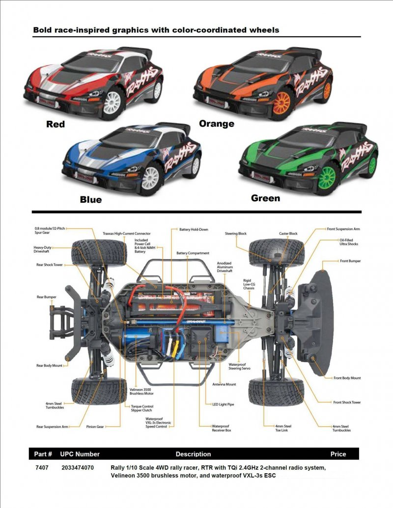 Image 4 of Traxxas 1/10 Rally 4WD Brushless RTR Rally Racer w/TQi 2.4GHz 2-Channel Radio