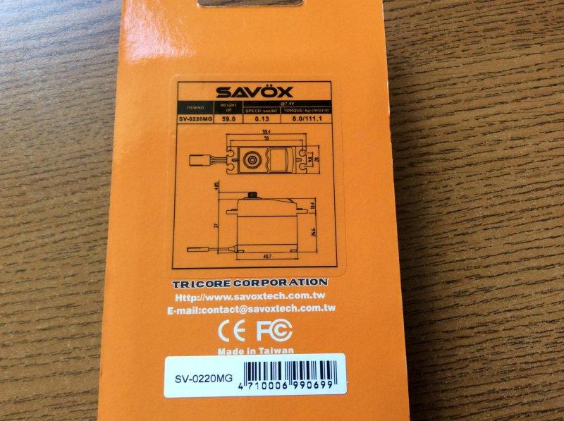 Image 2 of Savox 0220MG HIGH VOLTAGE STD DIGITAL SERVO 0.13/111.1 @7.4