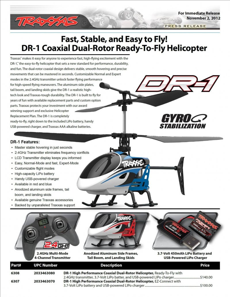 Image 1 of Traxxas DR-1 COAXIAL DUAL ROTOR HELICOPTER RTF 2.4GHZ RADIO