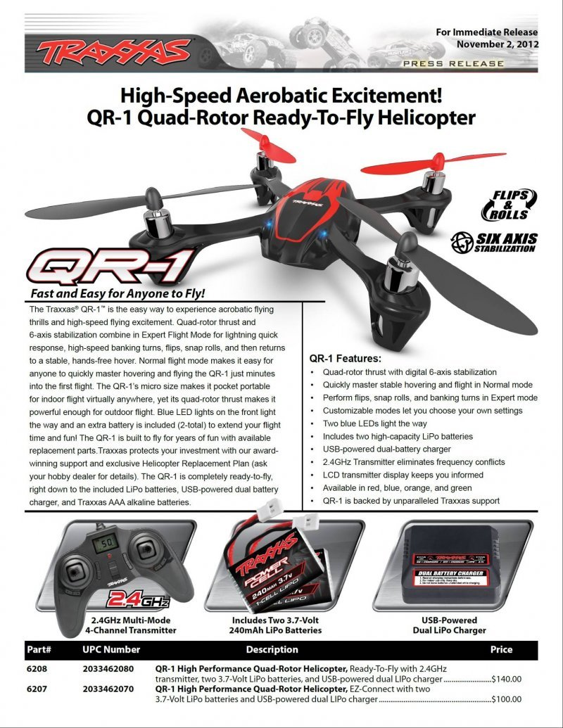 Image 2 of Traxxas QR-1 QUAD ROTOR HELICOPTER RTF 2.4GHZ, 2 LIPO & USB CHARGER