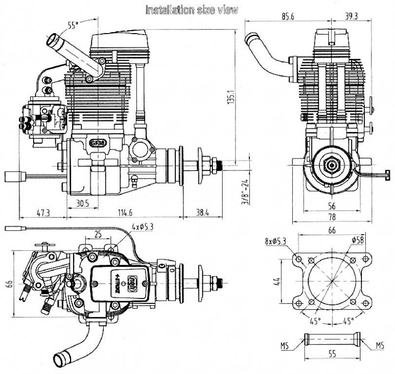 Image 3 of NGH GF38cc 4-stroke gas engine