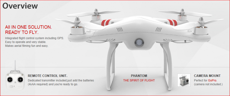 Image 0 of DJI Phantom Aerial UAV Drone Quadcopter (RTF) GPS, NAZA, IOC Awesome