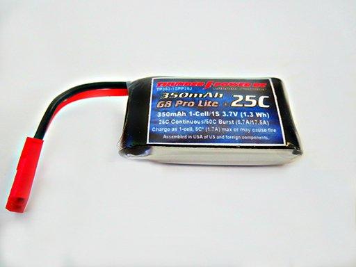 Image 0 of 350mAh 1-Cell/1S 3.7V G8 Pro Lite+ 25C LiPo, JST