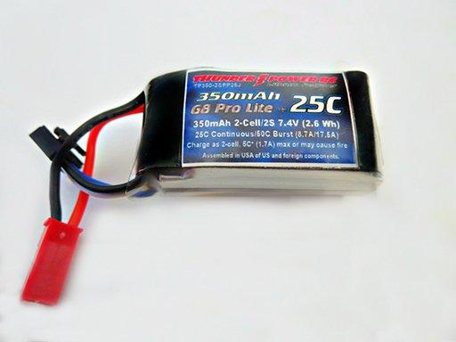 Image 0 of 350mAh 2-Cell/2S 7.4V G8 Pro Lite+ 25C LiPo, JST