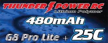 Image 0 of 480mAh 2-Cell/2S 7.4V G8 Pro Lite+ 25C LiPo, JST