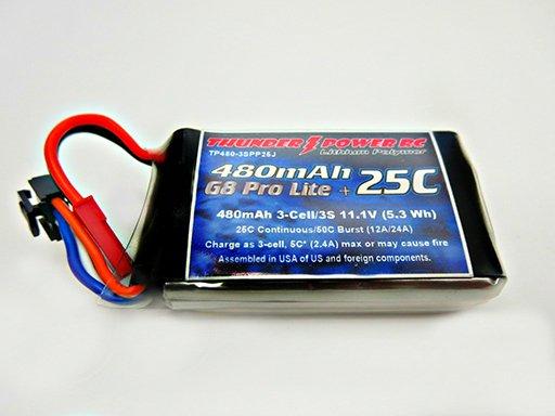 Image 0 of 480mAh 3-Cell/3S 11.1V G8 Pro Lite+ 25C LiPo, JST