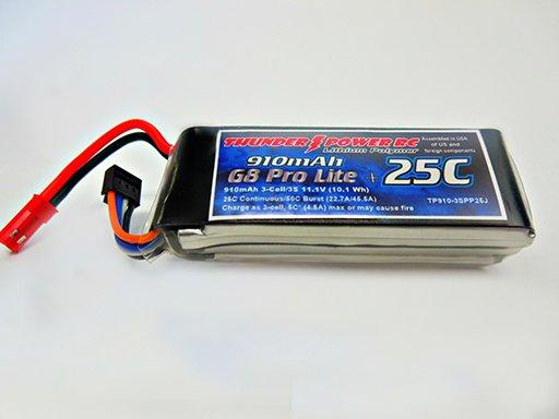 Image 0 of 910mAh 3-Cell/3S 11.1V G8 Pro Lite+ 25C LiPo, JST