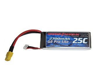 Image 0 of 2700mAh 3-Cell/3S 11.1V G8 Pro Lite+ 25C LiPo w/XT60 power lead and JST balance