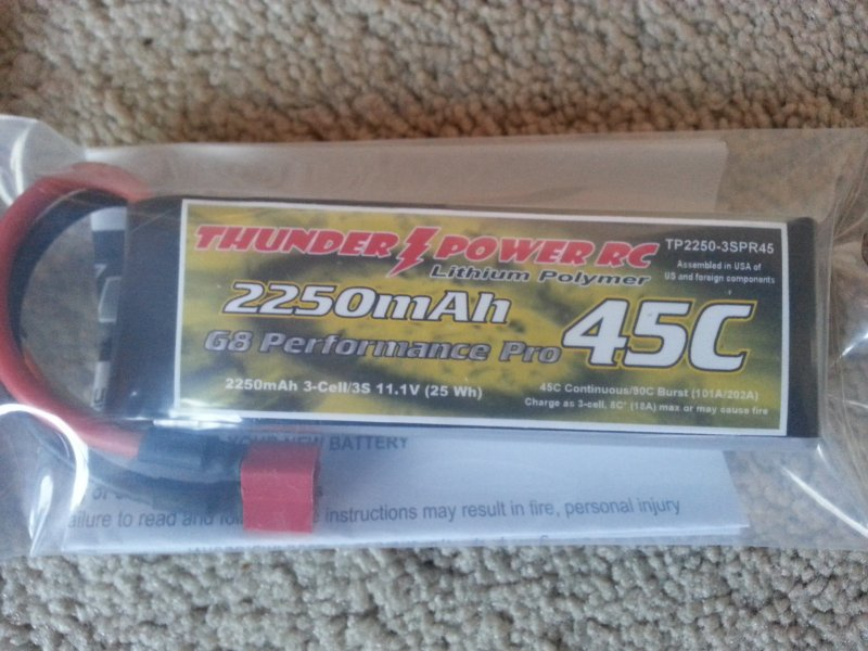 Image 0 of 2250mAh 3-Cell/3S 11.1V G8 Performance Pro 45C LiPo w/deans connector