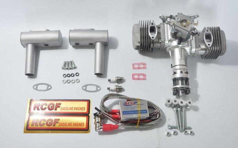 Image 1 of RCGF 60cc TWIN Gas Engine (new version w/angled plugs)