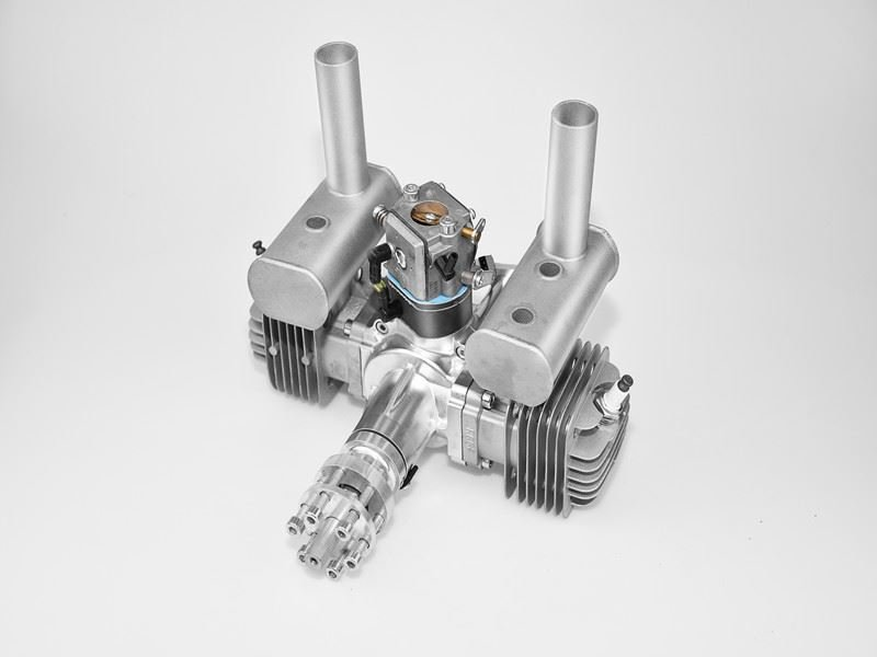 Image 1 of RCGF 60cc TWIN Gas Engine (new version w/angled plugs)