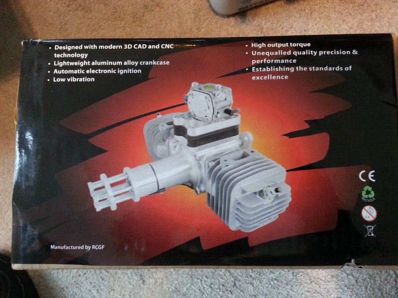 Image 3 of RCGF 60cc TWIN Gas Engine (new version w/angled plugs)