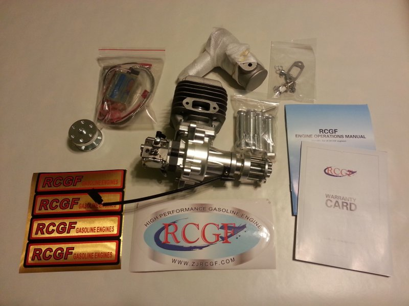 Image 0 of RCGF 60cc rear carb gasoline engine w /drill guide/jig