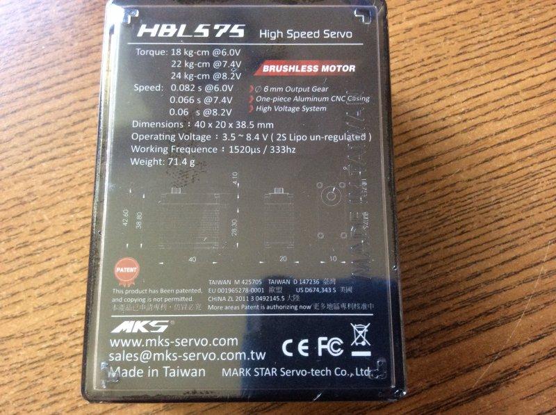 Image 1 of MKS HBL575 (0.06 sec/60 - 333.30 oz/in @8.2V)